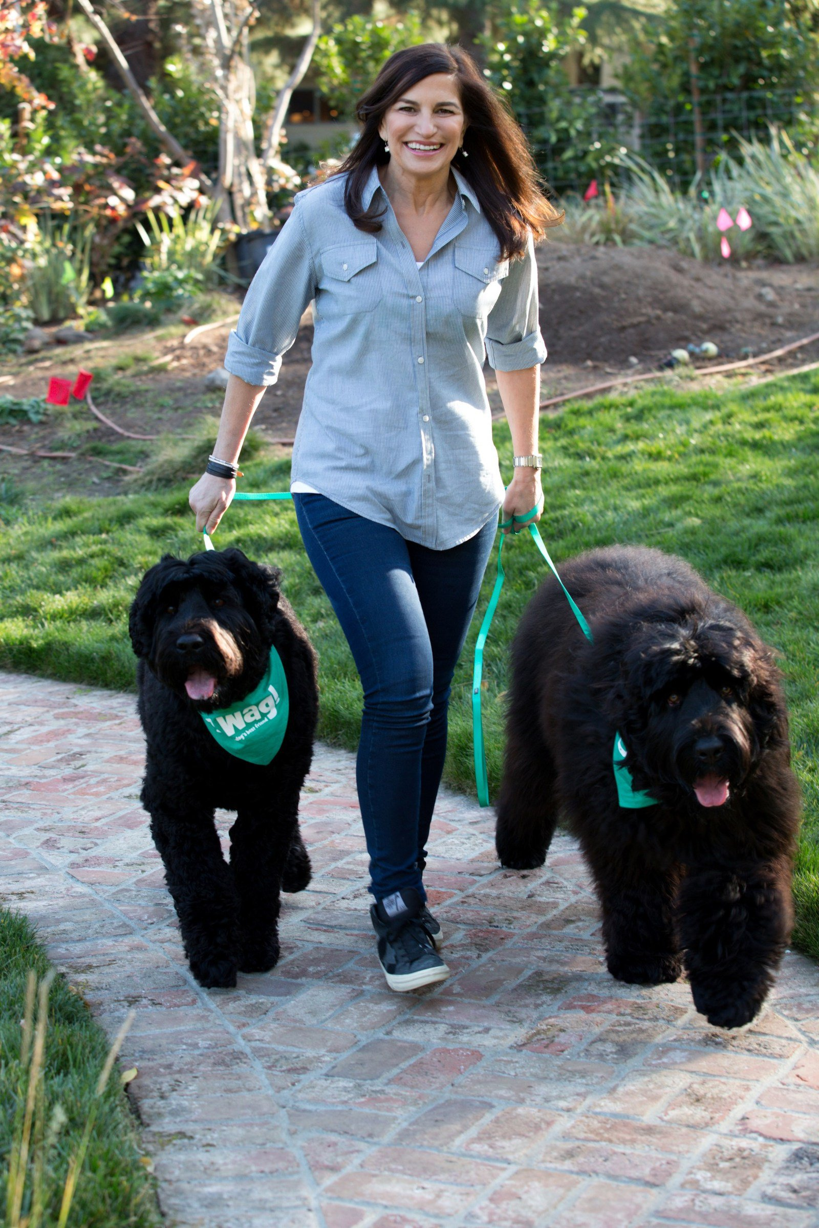 Wag! CEO Hilary Schneider with her two Black Russian Terriers, Sadie & Zoe
